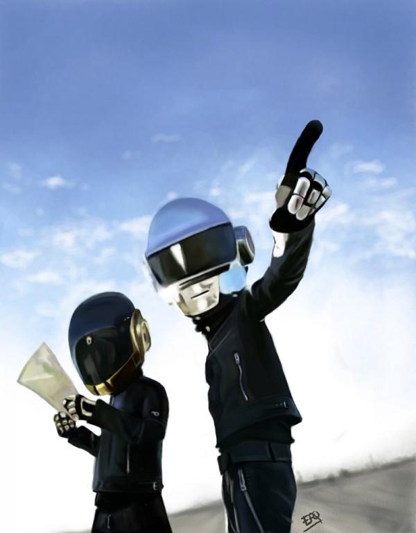 Caricatura de Daft Punk
