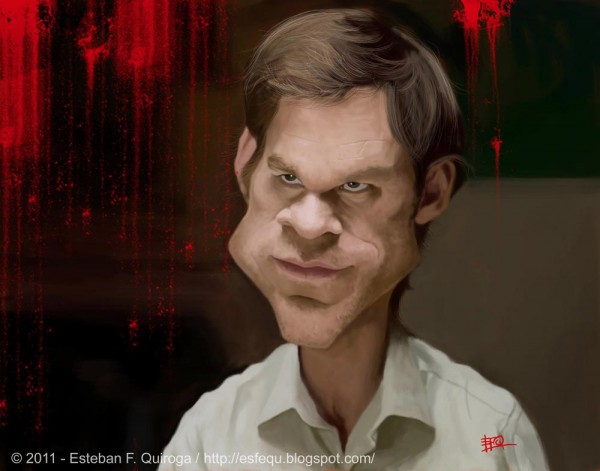 Caricatura de Dexter Morgan (Michael C. Hall)