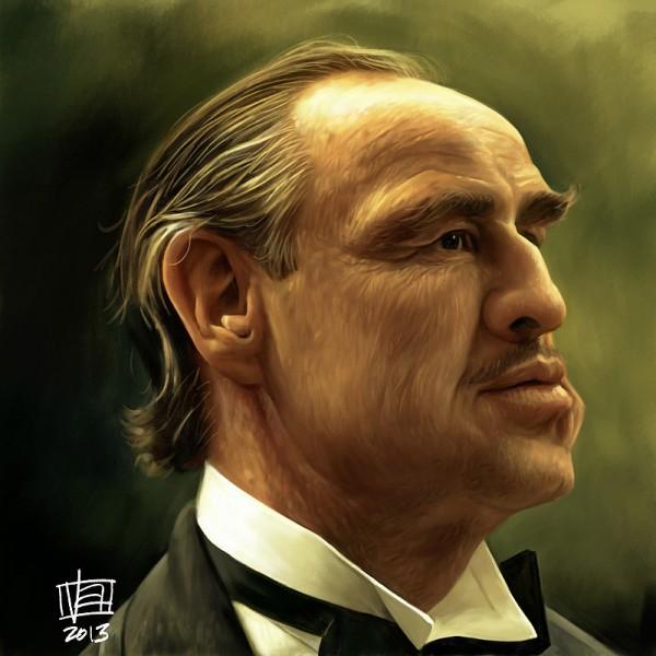 Caricatura de Don Corleone (Marlon Brando)