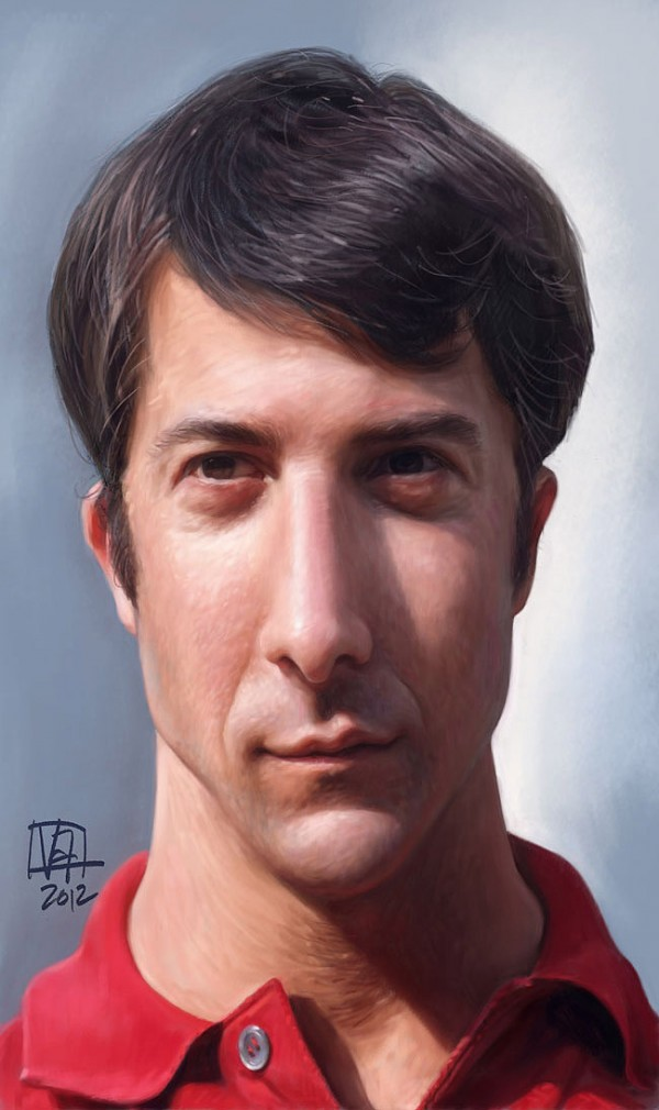 Caricatura de Dustin Hoffman en El graduado