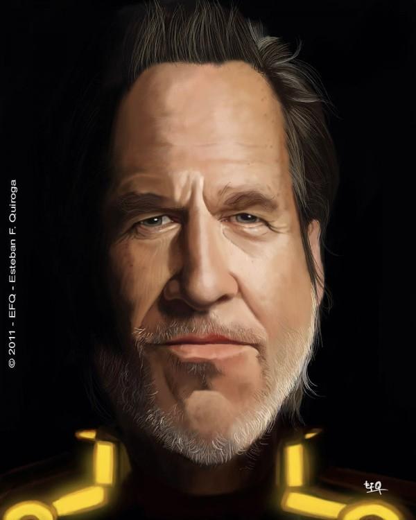 Caricatura de Jeff Bridges en TRON: Legacy