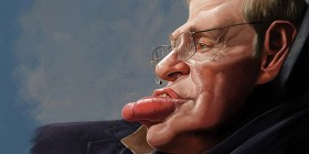 Caricatura de Stephen Hawking