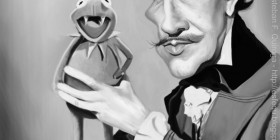 Caricatura de Vincent Price y La Rana Gustavo