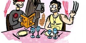 Cíclope y Lobezno en un restaurante
