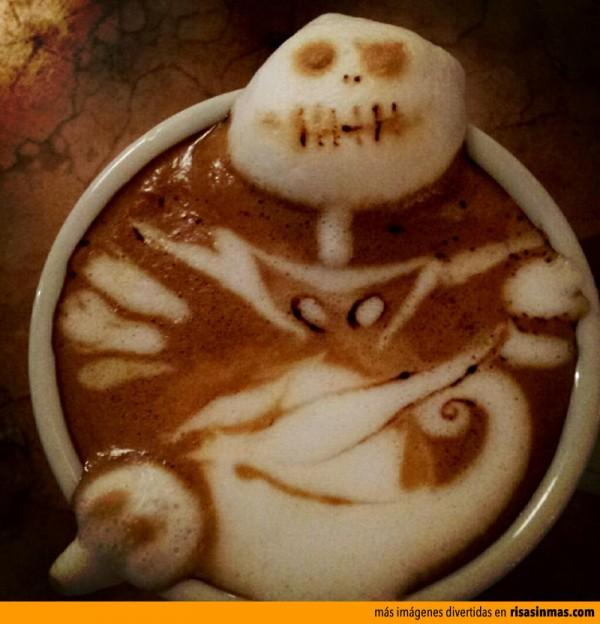 Jack Skellington hecho con espuma de café