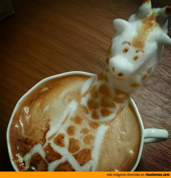 Jirafa hecha con latte art
