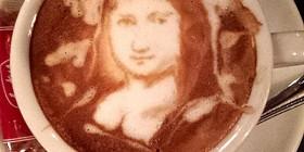La Mona Lisa hecha con café