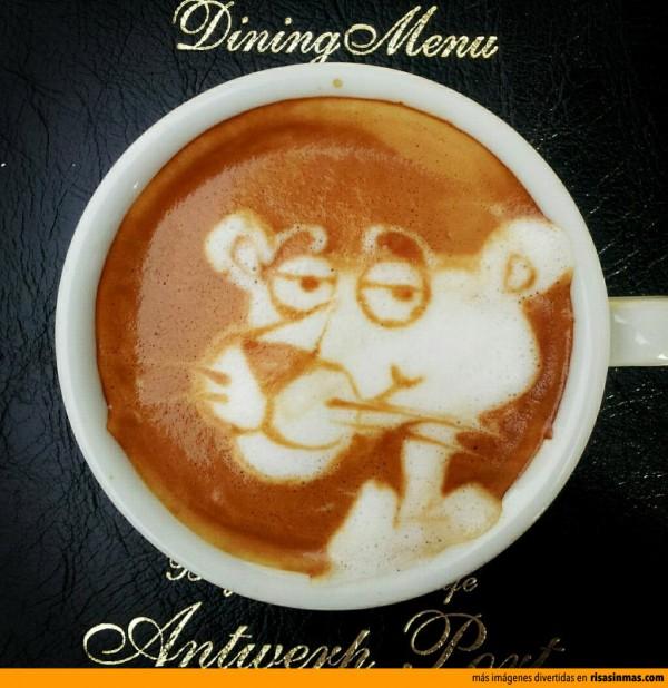 Latte art: La Pantera Rosa