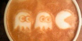 Latte art Pac-Man
