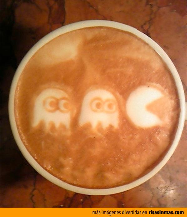 Latte art Pac-Man