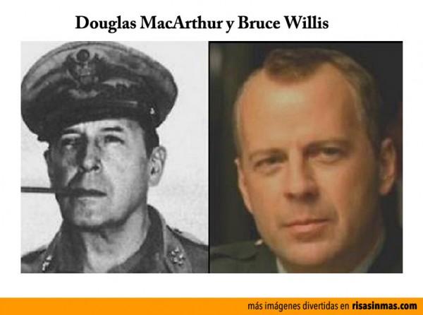 Parecidos razonables: Douglas MacArthur y Bruce Willis