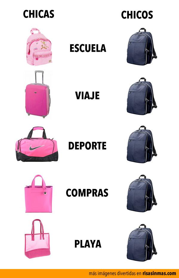 Bolsas y bolsos según chicas y chicos