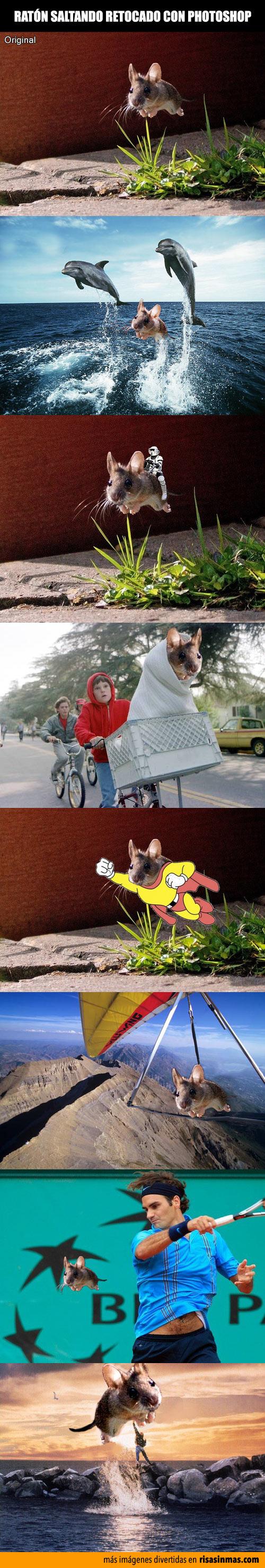Ratón saltando retocado con Photoshop