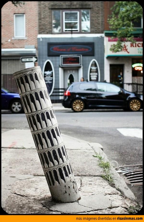 Arte callejero: torre de Pisa
