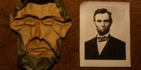 Abraham Lincoln hecho con papel (Origami)