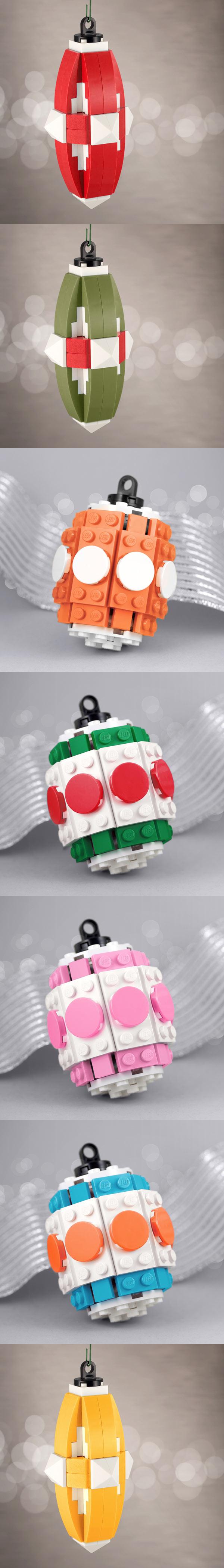 Adornos navideños hechos con LEGO