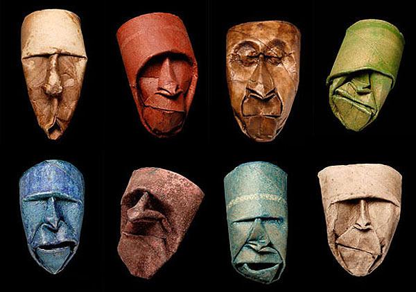 Caras hechas con papel (Origami)