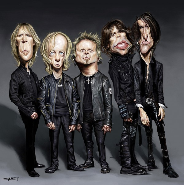 Caricatura de Aerosmith