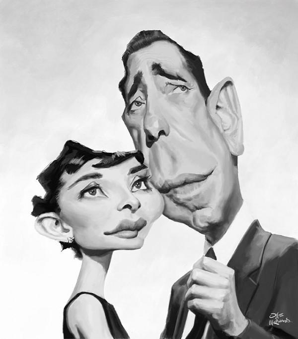 Caricatura de Audrey Hepburn y Humphrey Bogart en Sabrina