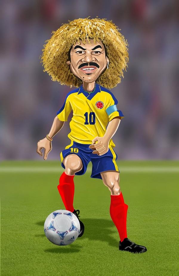 Caricatura de Carlos Valderrama