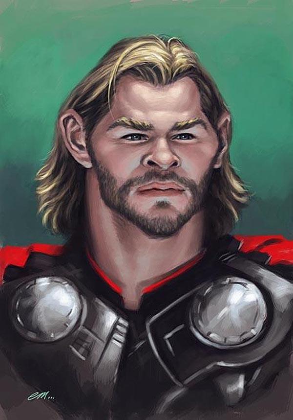 Caricatura de Chris Hemsworth como Thor