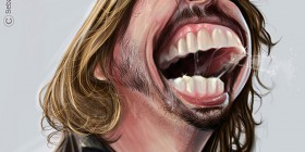 Caricatura de Dave Grohl de Foo Fighters