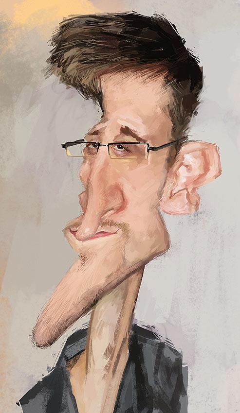 Caricatura de Edward Snowden