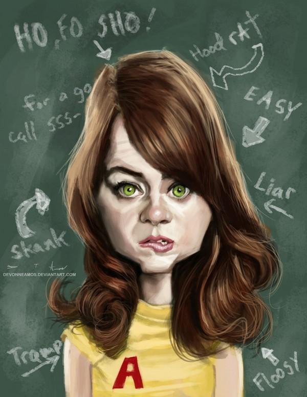 Caricatura de Emma Stone
