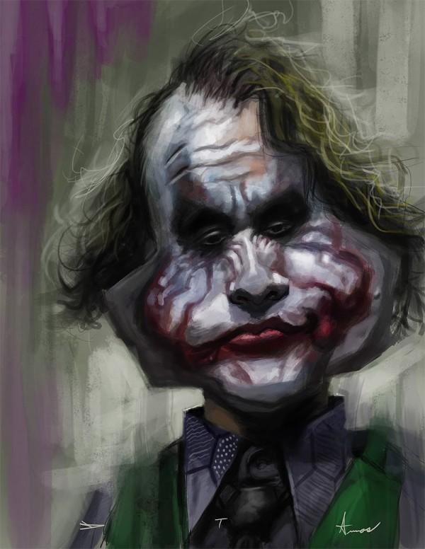Caricatura de Heath Ledger como Joker
