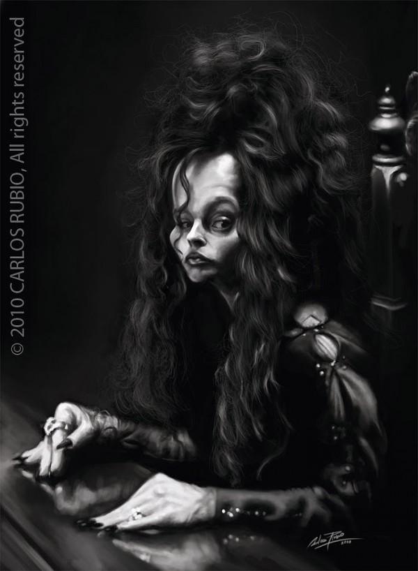 Caricatura de Helena Bonham Carter como Bellatrix Lestrange