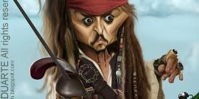Caricatura de Jack Sparrow (Johnny Depp)