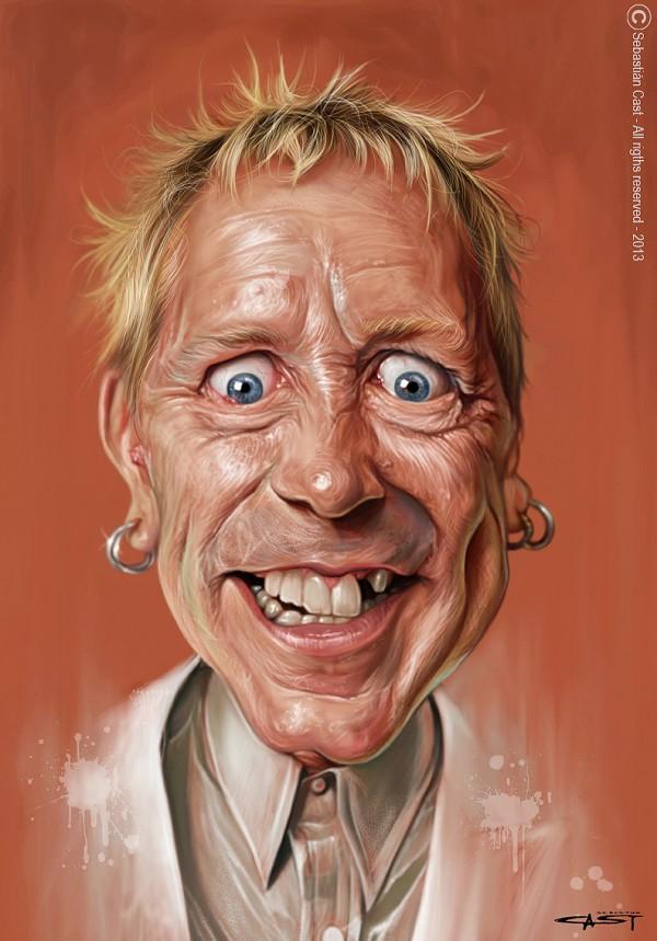 Caricatura de Johnny Rotten