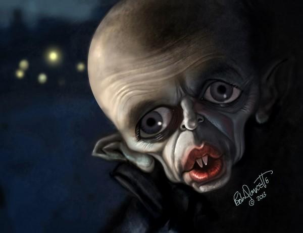 Caricatura de Klaus Kinski como Nosferatu