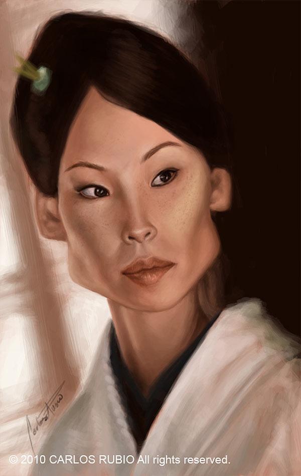 Caricatura de Lucy Liu