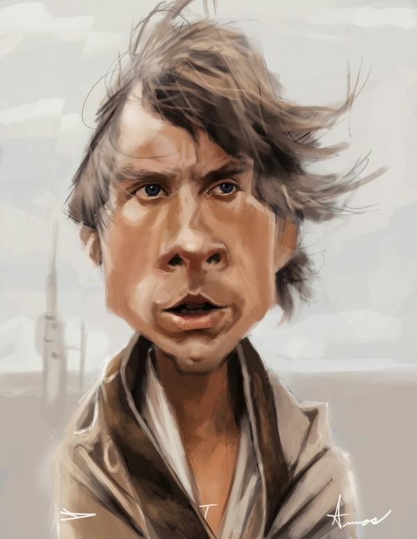 Caricatura de Luke Skywalker