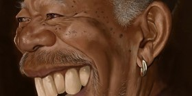 Caricatura de Morgan Freeman