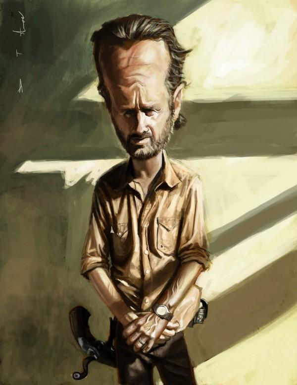 Caricatura de Rick Grimes de The Walking Dead