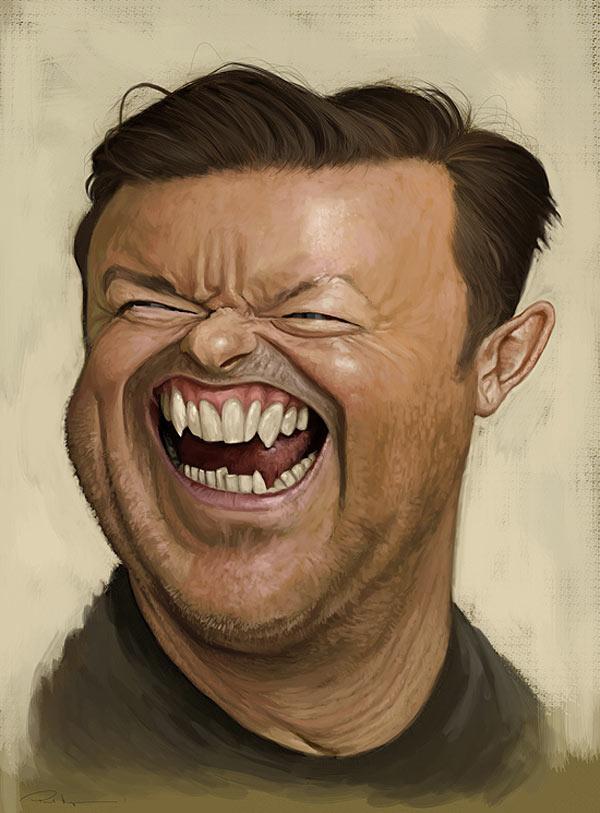 Caricatura de Ricky Gervais