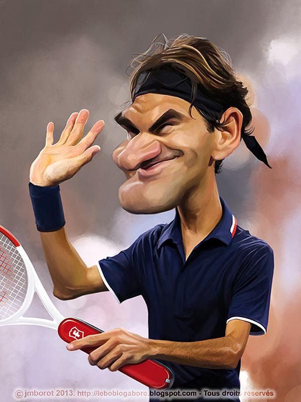 Caricatura de Roger Federer