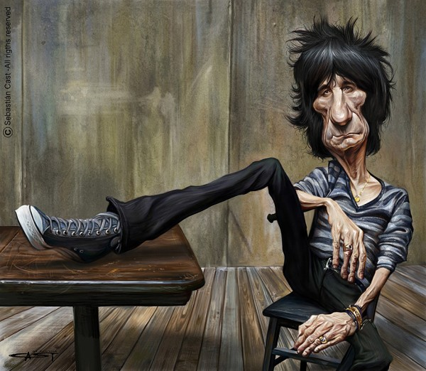 Caricatura de Ron Wood (The Rolling Stones)
