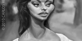 Caricatura de Sophia Loren
