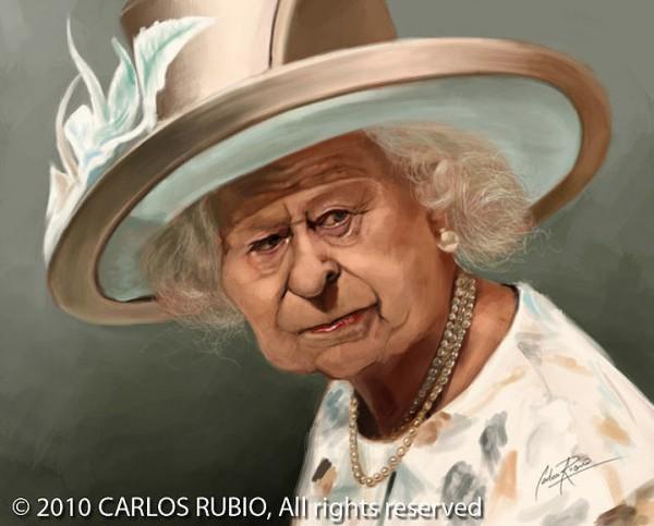 Caricatura de la Reina Isabel II