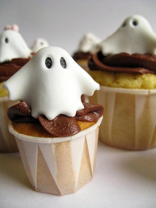 Cupcakes de Halloween: Fantasmas