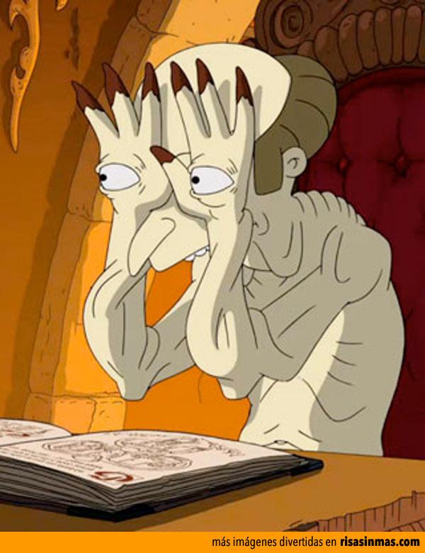 El señor Burns es el monstruo de ojos en las manos