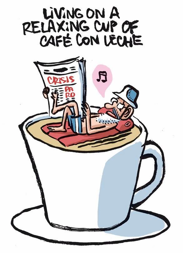 Mariano Rajoy tomando una relaxing cup of café con leche