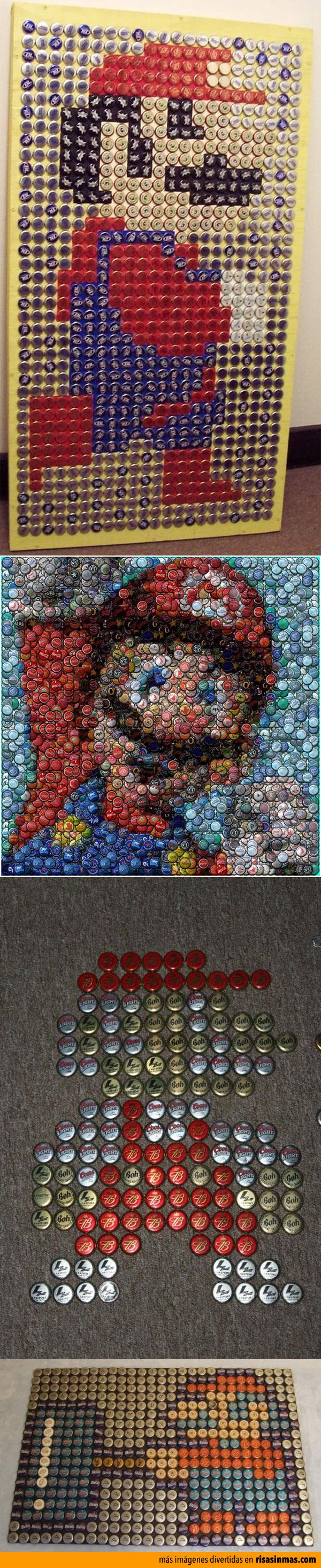 Mario Bros hecho con chapas y tapas de botellas