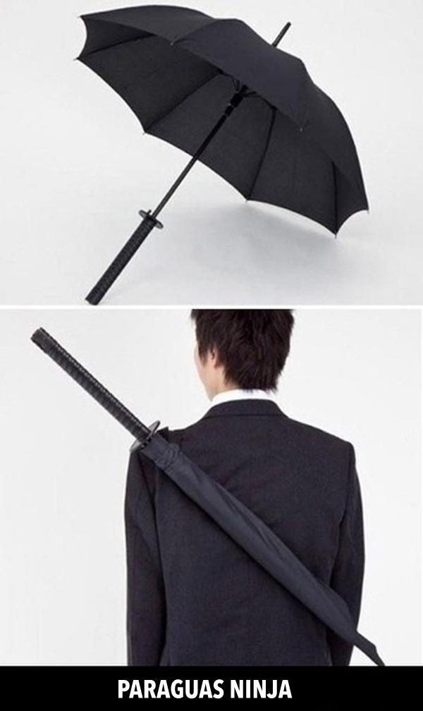 En Japón son diferentes: paraguas ninja