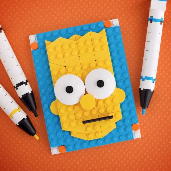 Retrato de Bart Simpson realizado con LEGO