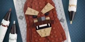 Retrato de Chewbacca hecho con LEGO