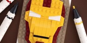 Retrato de Iron Man hecho con LEGO